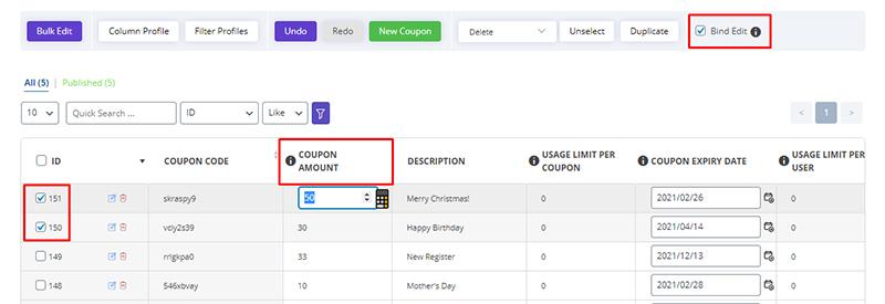Change Coupon amount via bulk edit in WooCommerce Bulk Coupons Editing by ithemelandco