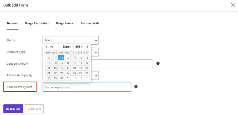 Set expiry date for coupons in WooCommerce Bulk Coupons Editing by ithemelandco