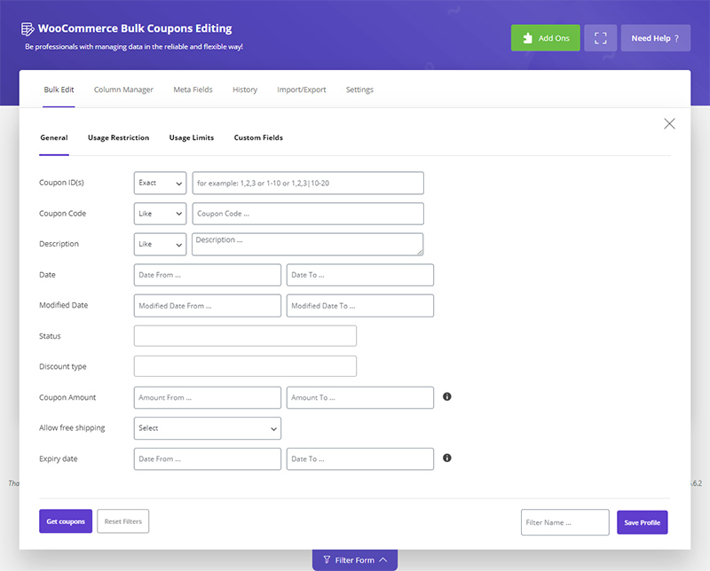 Search Coupons based on all fields in WooCommerce Bulk Coupons Editing bt ithemelandco