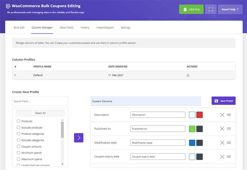 Create column preset in WooCommerce Bulk Coupons Editing by ithemelandco