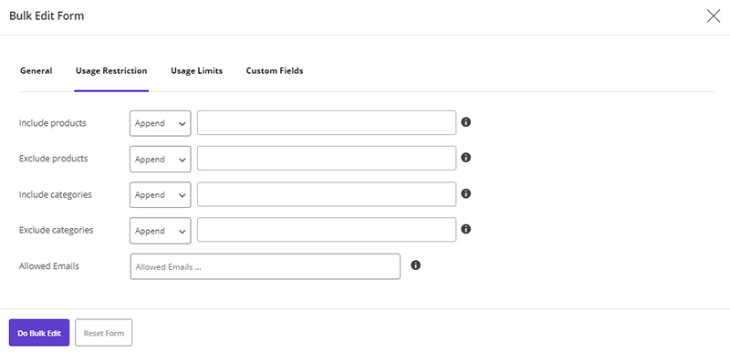 Define coupons for specific categories in WooCommerce Bulk Coupons Editing by ithemelandco