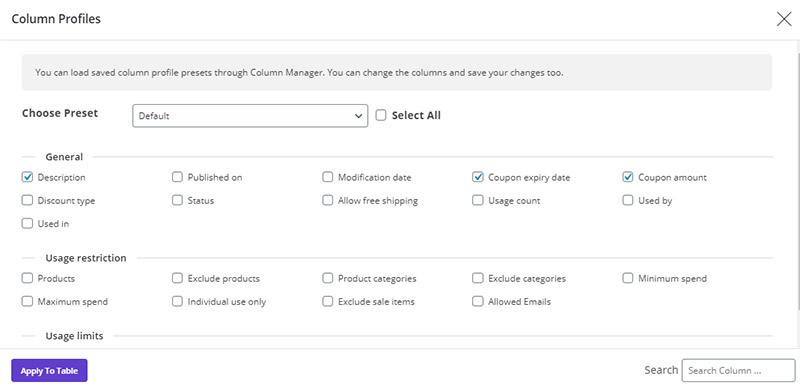 column profile in WooCommerce Bulk Coupons Editing by ithemelandco