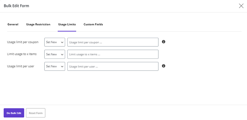 manage number of usage for coupons by WooCommerce Bulk Coupons Editing by ithemelandco