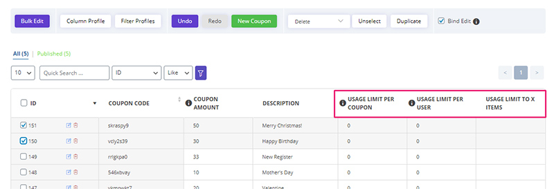 manage 'usage limits' for coupons by WooCommerce Bulk Coupons Editing by ithemelandco