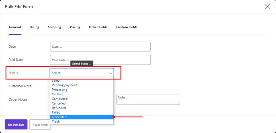 order status bulk edit