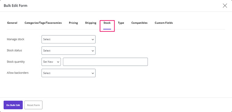All of product's stock fields are available in WooCommerce Bulk Product Editing