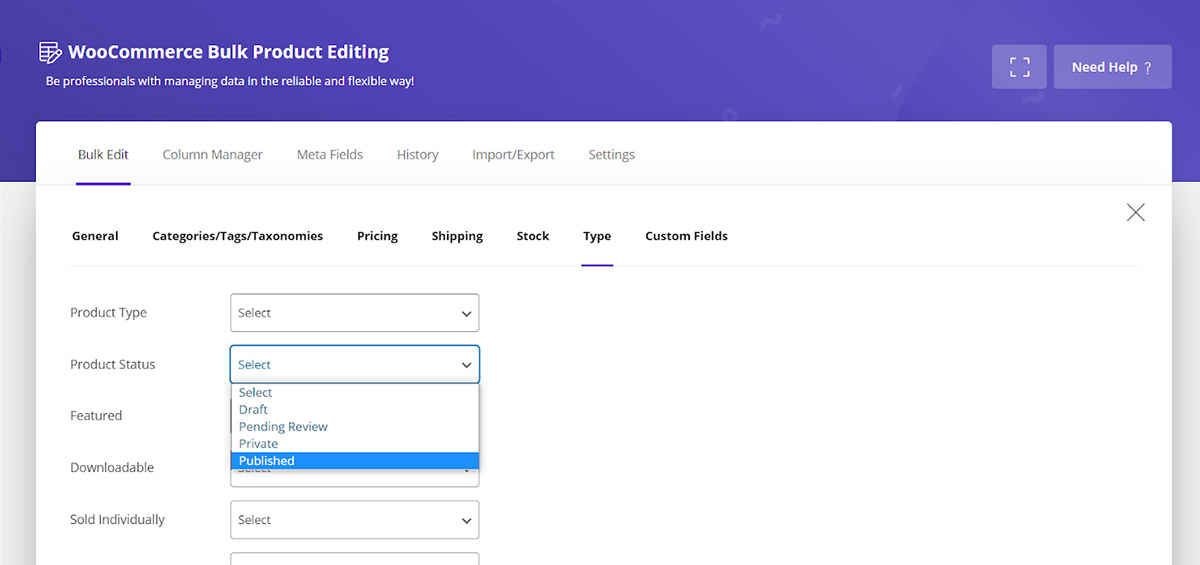 filter published product in Woocommerce Bulk Product Editing