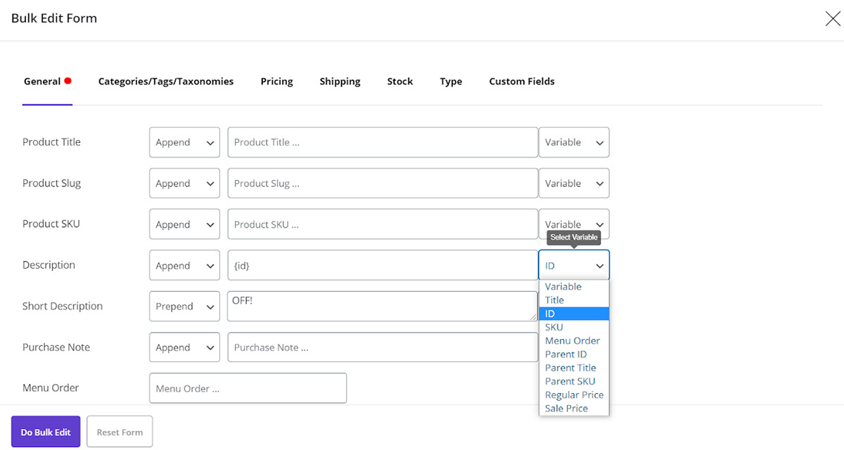 add some variable value to product description
