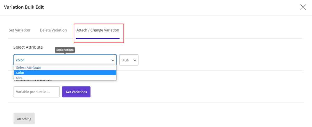 """""""Attach/Change Variations"""" in woocommerce bulk product editing"""