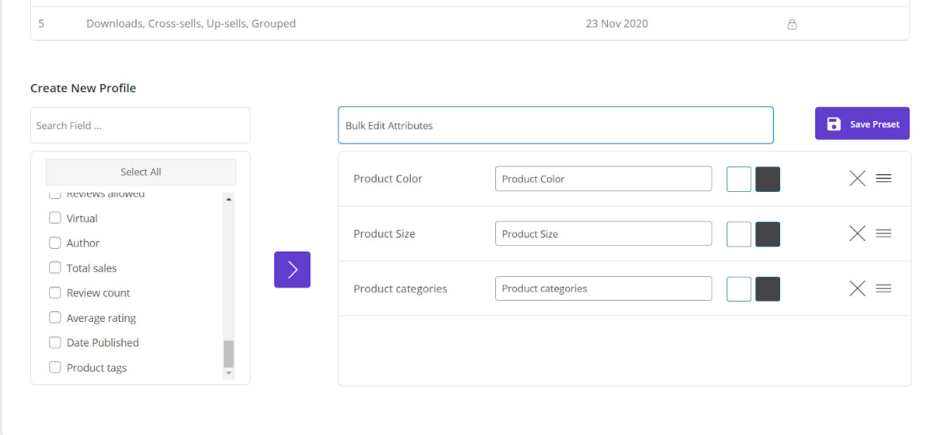 column manager in woocommerce bulk product editing