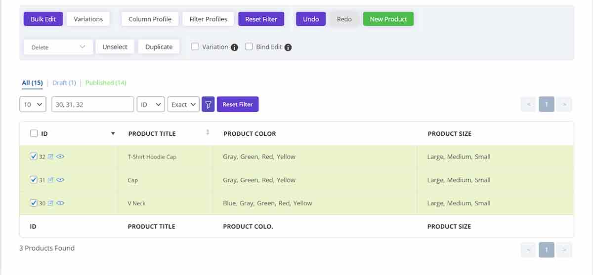 display variation products in woocommerce bulk product editing