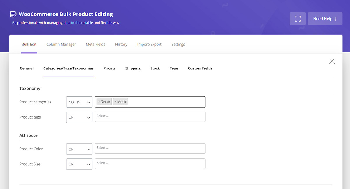 Filter products other than decoration and music categories  in Woocommerce product bulk editing plugin