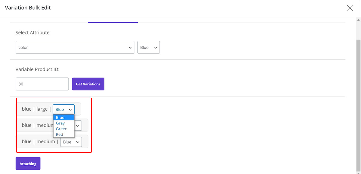 managing variable product by woocommerce bulk product editing