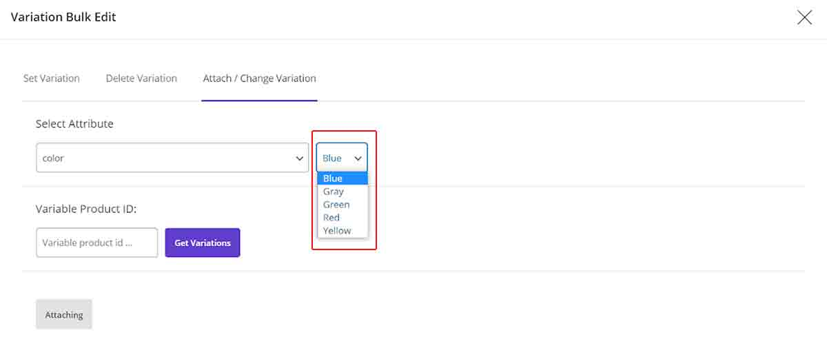attach new variations to product in Bulk edit attributes