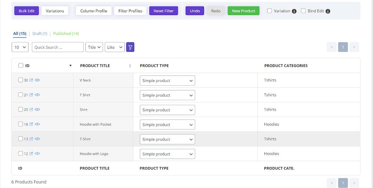 load new filter profile in woocommerce bulk product editing plugin