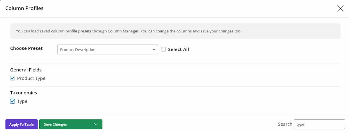select Product Type and type columns  in Woocommerce bulk edit plugin