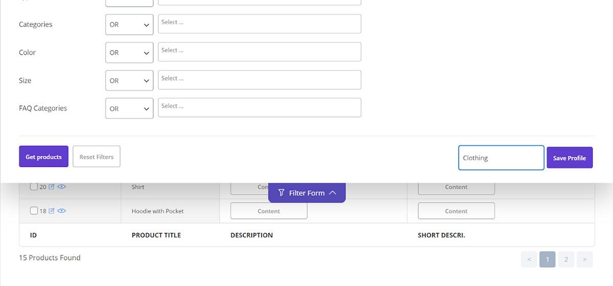 Save filter profile in Woocommerce bulk edit plugin