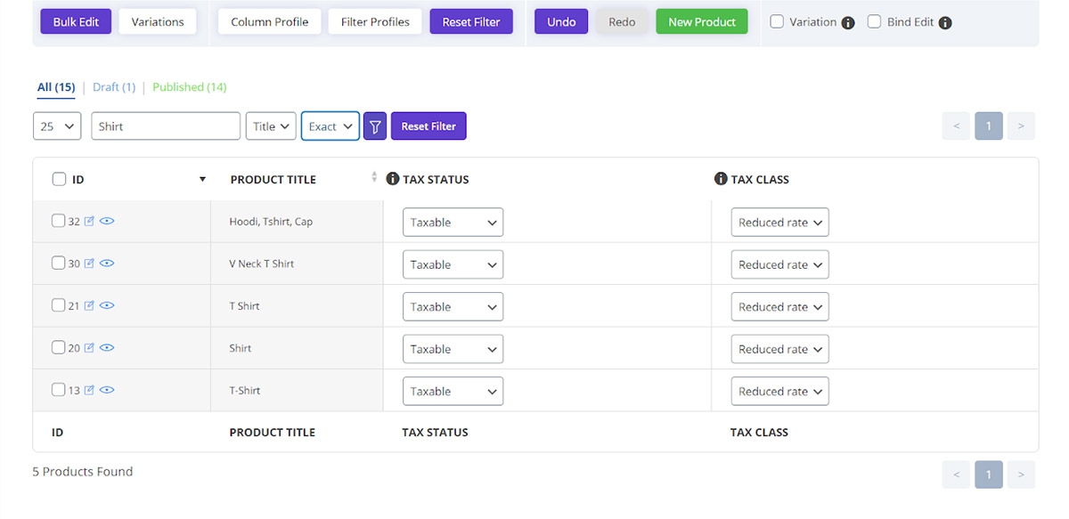 filter products in quick search in woocommerce bulk products editing plugin