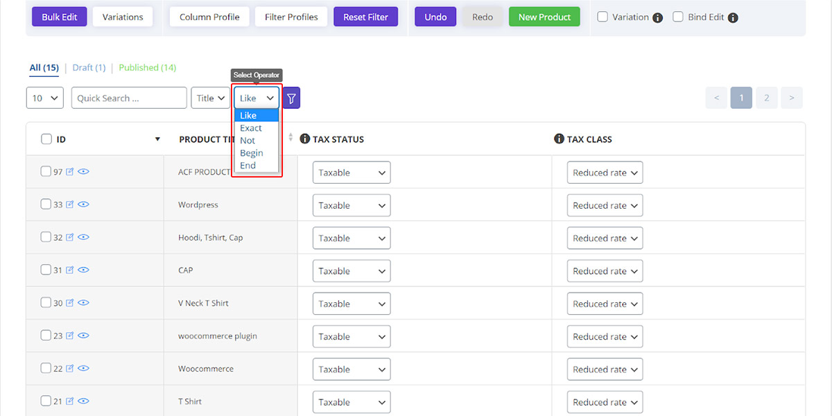 Select operators (like, exact, not and ...) to filter products in quick search