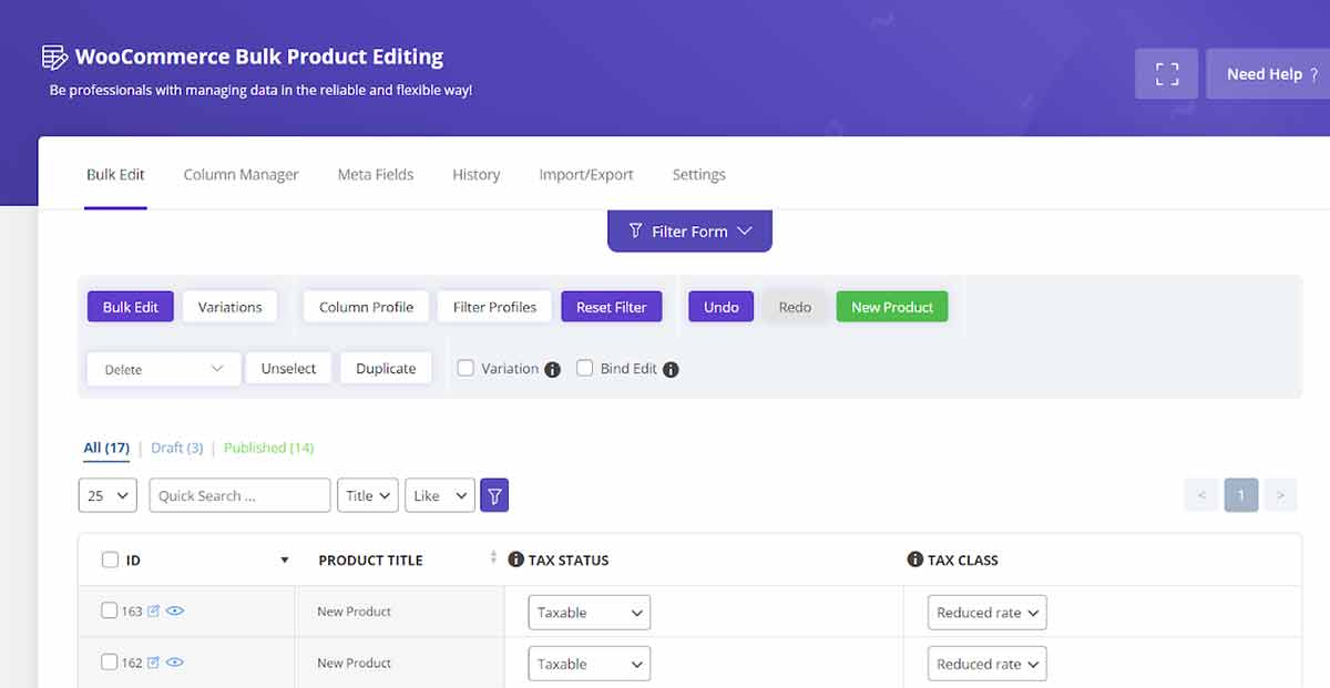 bulk edit new products in woocommerce bulk products editing plugin