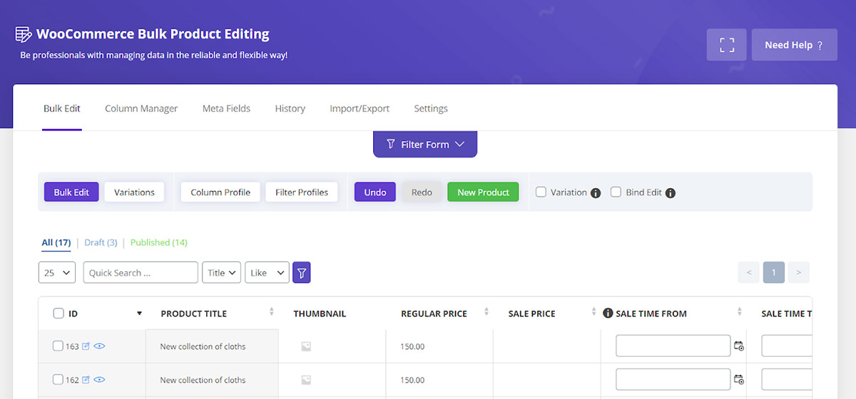 apply column preset in woocommerce product table plugin
