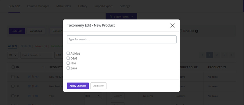 assign taxonomy to products in WooCommerce Bulk Product Editing plugin by ithemelandco