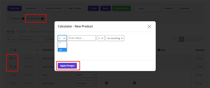 change the sale price based on the regular price in WooCommerce Bulk Product Editing plugin by ithemelandco