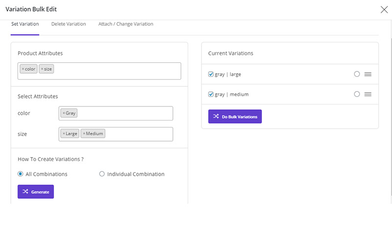 add variations in WooCommerce Bulk Product Editing