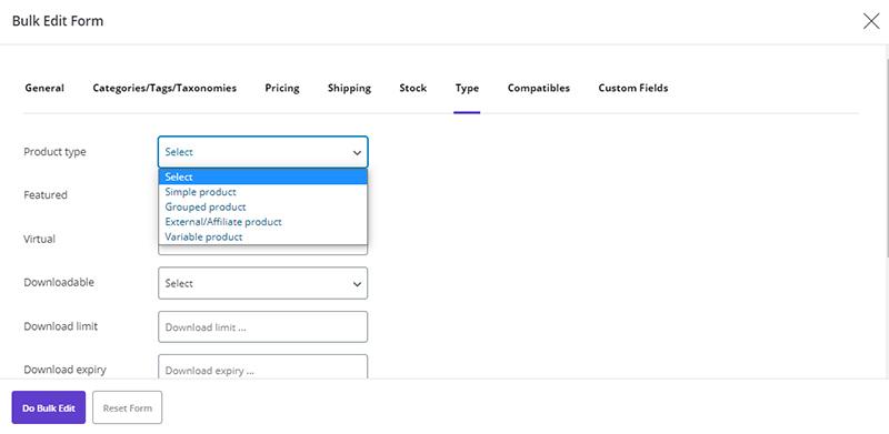 set variable product via bulk form in WooCommerce Bulk Product Editing