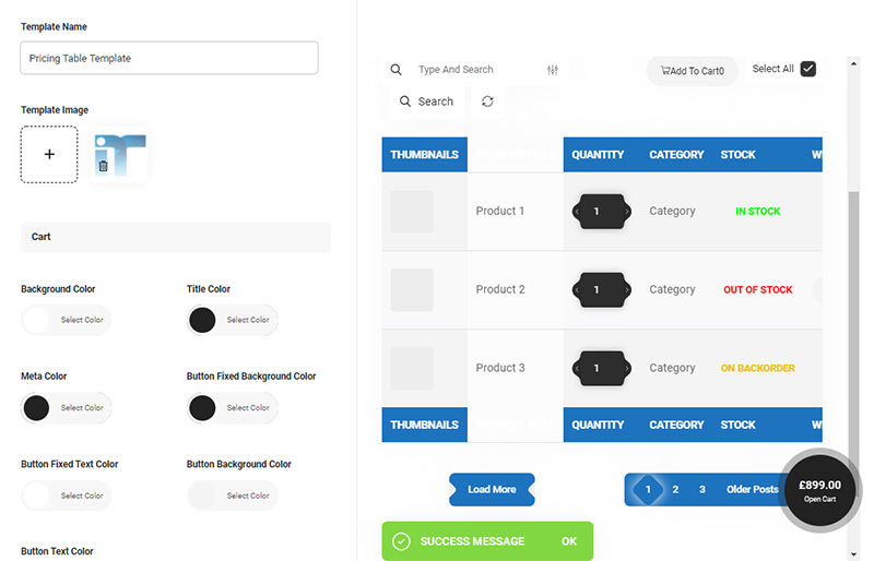 Edit product table Template in WooCommerce Product Table plugin by ithemelandco