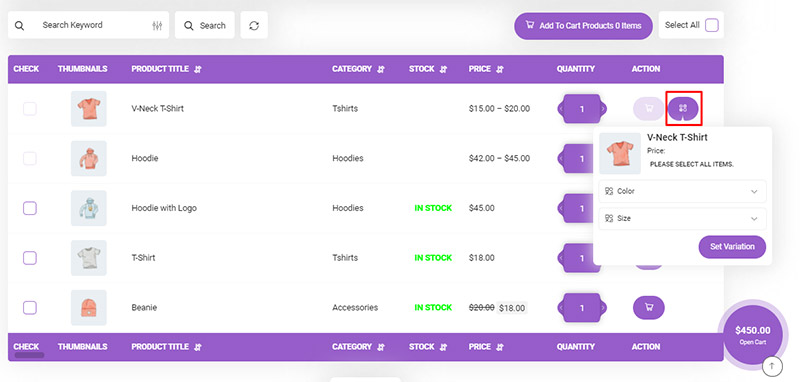 add variation to cart in WooCommerce Product Table