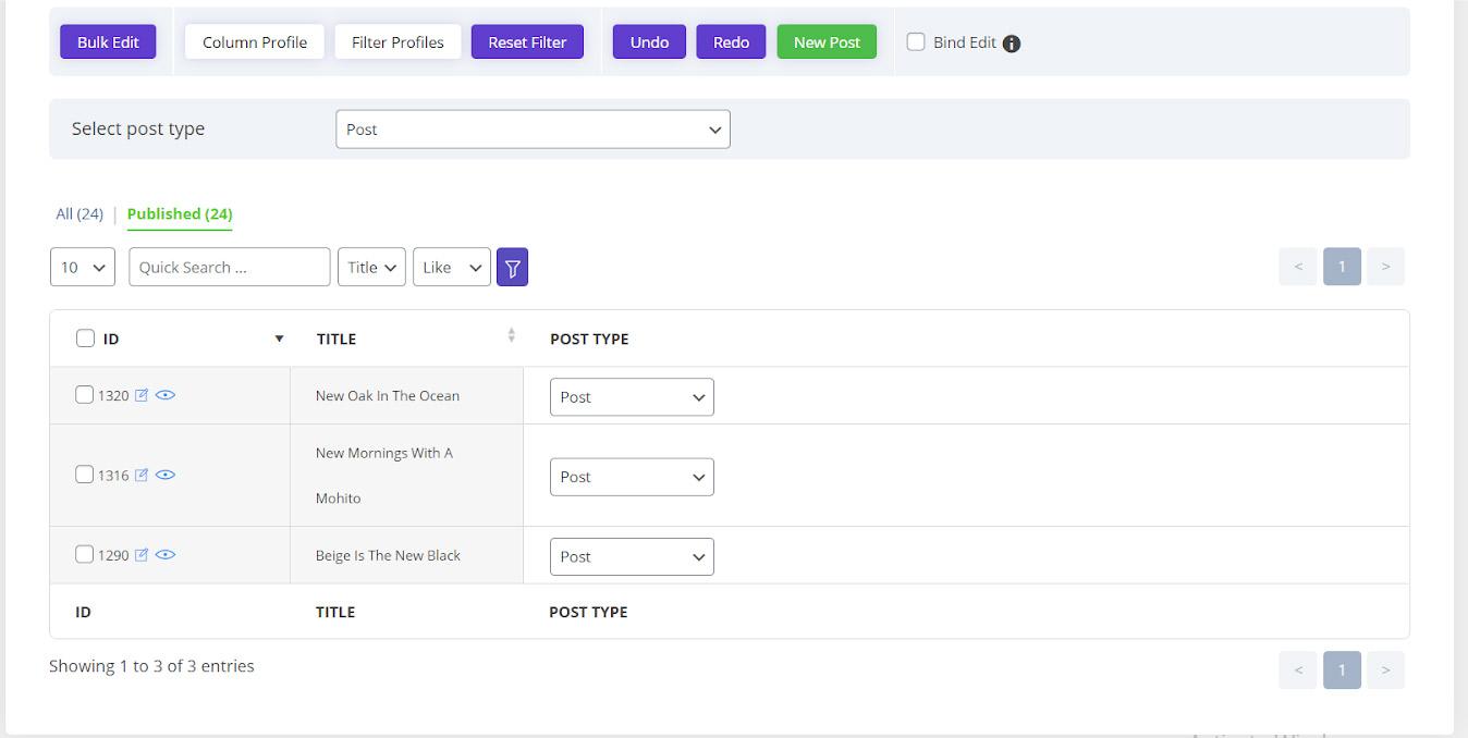 Apply columns profile in WordPress Bulk post editing plugin