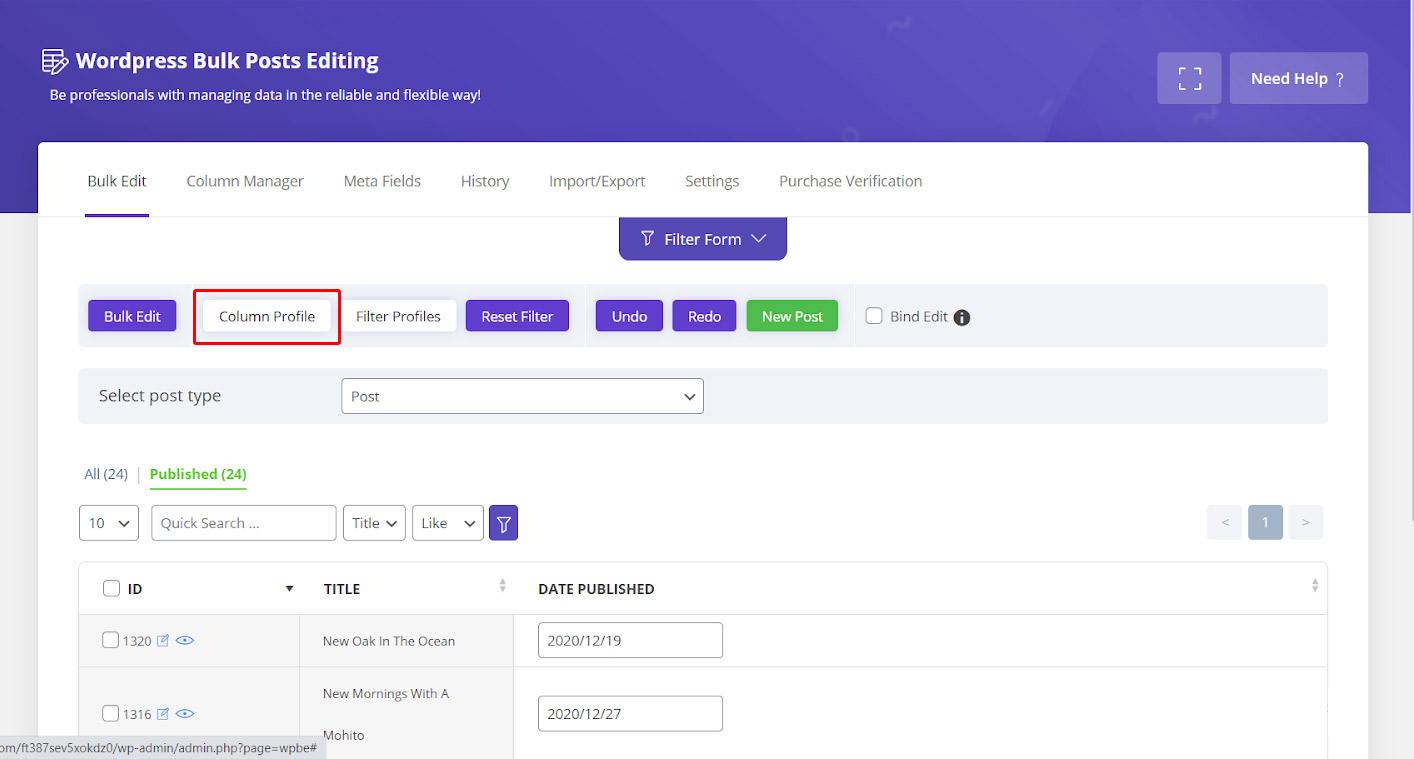 Load column profile in wordpress post bulk edit plugin