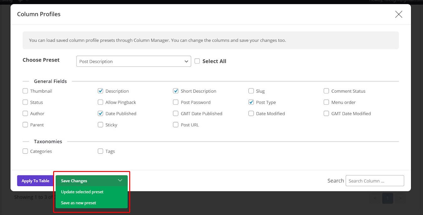 Save changes a profile in WordPress Bulk post editing plugin