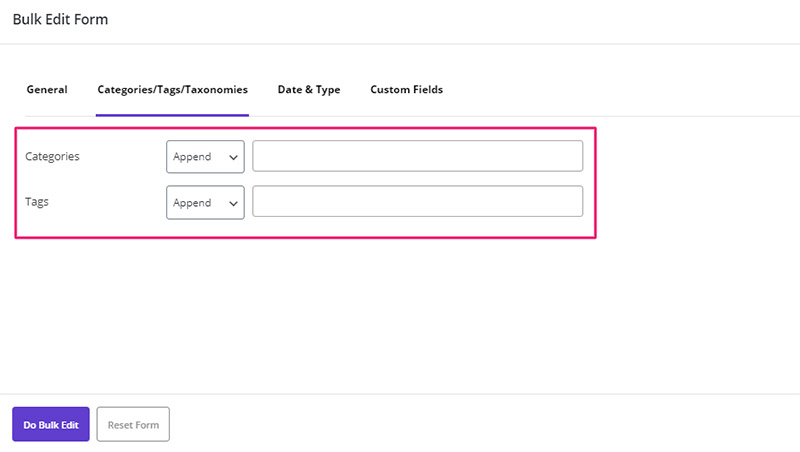 Assign or remove Category to posts in WordPress Bulk Posts Editing plugin by ithemelandco
