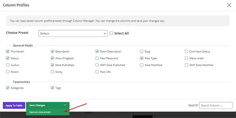 save new column profile in WordPress Bulk Posts Editing
