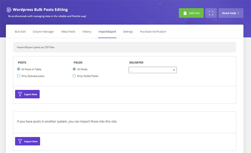Import/Export posts in WordPress Bulk Posts Editing plugin by ithemelandco