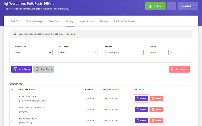 revert changes in WordPress Bulk posts Editing plugin by ithemelandco