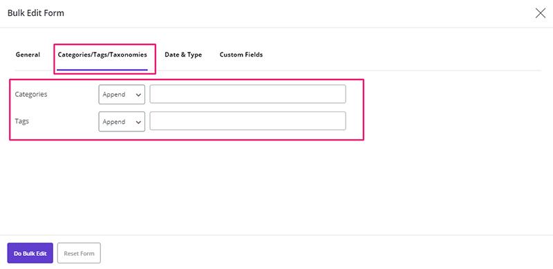 assign taxonomy to posts via bulk edit in WordPress Bulk Posts Editing