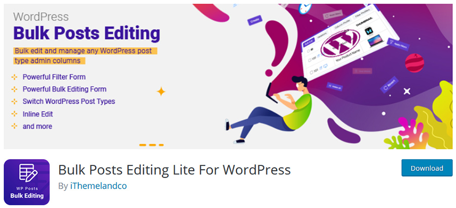 download the free version of wordpress bulk posts editing