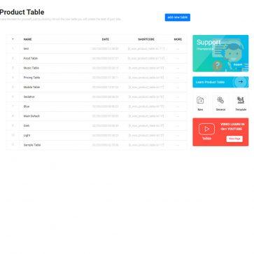 woocommerce product table list