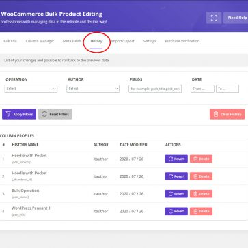woocommerce bulk edit history