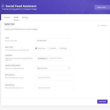 Social Feed Assistant Add Feed