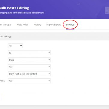 wordpress bulk posts edit settings