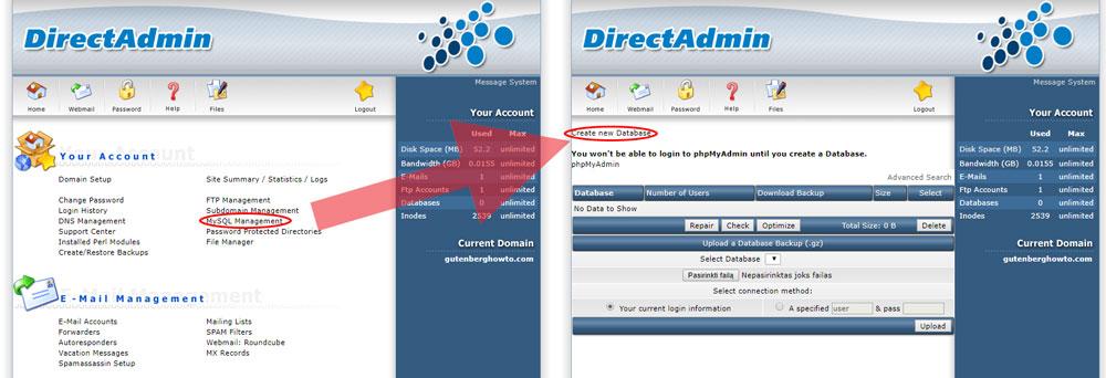 Select MySQL management on DirectAdmin