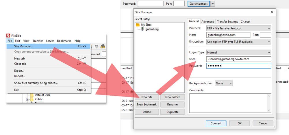 Filezilla create FTP connection