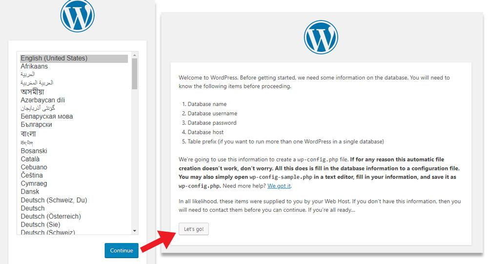 install WordPress - Select language