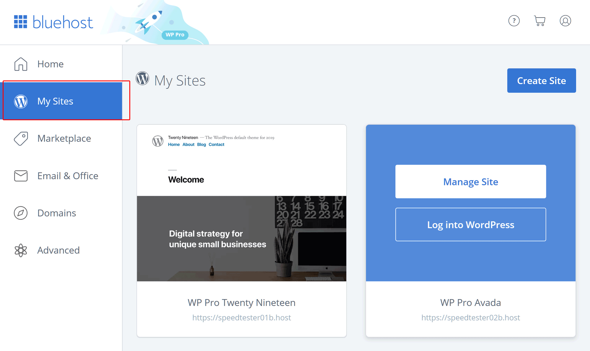 Choose my sites on Bluehost panel