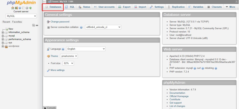 phpmyadmin select databases