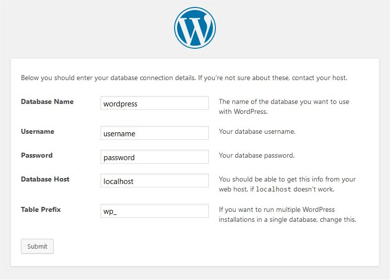 Wordpress database information